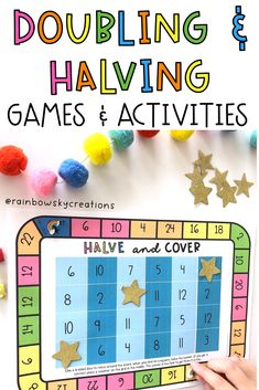 Get your students confidently doubling and halving numbers with these fun games! This resource is designed to provide your students with 14 hands-on, differentiated learning experiences with little preparation from you. Build proficiency, fluency and confidence when doubling and halving numbers. Ideal for Maths centres, lesson starters, morning work, fast finishers #rainbowskycreations Activity Games, Fun Games, Learning Activities, Doubling And Halving, Maths Centres, 6 Sided Dice, Teaching Math, Teaching Ideas, Professional Development For Teachers