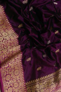 Over - Kanjivaram / Saree Store: Fashion Kanjivaram Sarees Silk, Pure Silk Sarees, Half Saree Designs, Silk Saree Blouse Designs, Saree Designs Party Wear, Bridal Silk Saree, Bridal Lehenga, Katan Saree, Purple