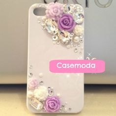 Made to Order. Compatible With Apple iPhone Girly Phone Cases, Glitter Phone Cases, Cool Iphone Cases, Cell Phone Covers, Diy Phone Case, Iphone Phone Cases, Iphone 4, Apple Iphone, Purple Roses