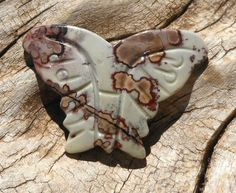 36mm Natural Paintbrush Jasper Stone Double Sided Carved Butterfly Pendant, Bead, Diy Beading Supplies - pinned by pin4etsy.com