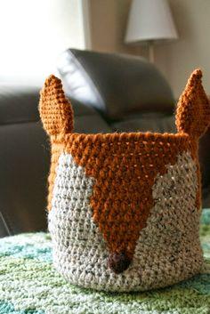 crumbs & purls: CROCHET: Mr foxy basket (modified) - free crochet pattern.