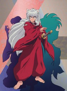 InuYasha about to grab Tetseiga his sword; silhouettes of Sesshomaru and Kagome in the background - InuYasha