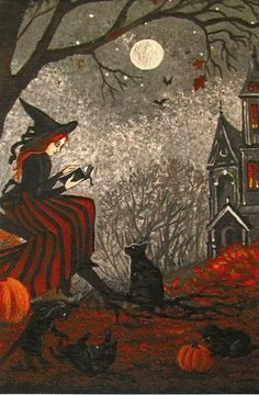 4X6 PRINT OF PAINTING RYTA HALLOWEEN WITCH BLACK CAT VINTAGE STYLE FOLK ART MOON #Halloween