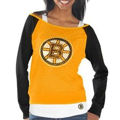 Women s Boston Bruins Gold Black Holey Long Sleeve Top and Tank Top II Set c42a80c29
