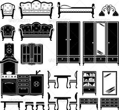 Furniture and Accessories for a Room #GraphicRiver Vector illustration. It is created in the CorelDraw program. It is edited in the Adobe Illustrator program. It is kept in illustrator eps version 8. The file can be edited in any program of vector graphics. The size of the file can be increased till any size without quality loss. In this file there are no gradiyentny fillings and mesh. File full-color. The illustration can be used both entirely, and in parts. Created: 4April13…