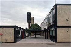 Smithdon High School, Hunstanton by The Smithsons Steel beams and bricks facade