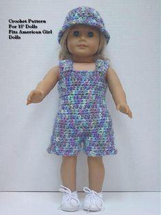 Crochet Pattern MR12 for 18 inch Dolls Romper Hat Fits American Girl Dolls | eBay
