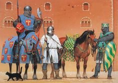 """Northern Italy, 13th century: • Knight, late 13th century • Infantryman, 13th century • Cavalryman, early 13th century"", Angus McBride"