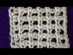 Тунисское вязание. Сетка с воздушными петлями - YouTube