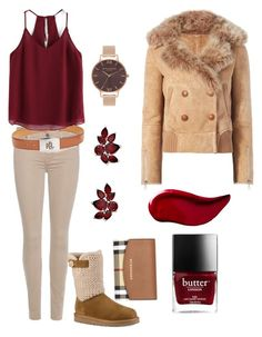 """""""Untitled #141"""" by klm62 ❤ liked on Polyvore featuring 7 For All Mankind, Burberry, UGG, Olivia Burton, Kat Von D, Liven and Lauren Ralph Lauren"""