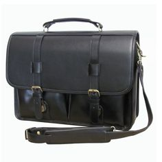 Black Leather Professor Briefcase Business Softside Type Flapover Locking Briefcase Leather Shoulder Strap & Carrying Handle Solid Pattern Zipper