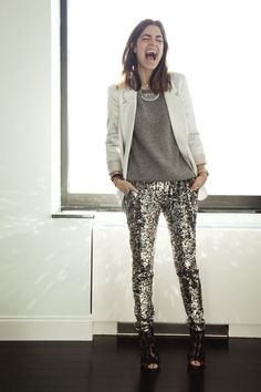 Who has some sequined pants?! This would be for the extra funky. What a fun look that would make :)