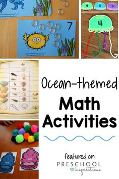 Summer is the time for all things OCEAN! Engage your preschool learners with these fun ocean-themed math activities. Tons of ideas for hands-on, creative learning!! Lots of other ocean activities, as well. Ocean Activities, Preschool Themes, Preschool Lessons, Summer Activities For Kids, Math For Kids, Hands On Activities, Kindergarten Activities, Learning Activities, Preschool Activities