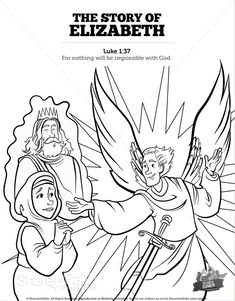 Luke 1 The Story of Elizabeth Sunday School Coloring Pages: Coloring Pages will always be a Sunday School classroom favorite! Go ahead and give your kids what they want with these hand illustrated Luke 1 Story of Elizabeth kids Bible activities. Bible Activities For Kids, Sunday School Activities, Bible Lessons For Kids, Sunday School Lessons, Sunday School Crafts, Bible For Kids, Nativity Coloring Pages, Angel Coloring Pages, Coloring Pages For Girls