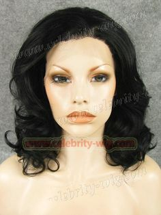 N19-1# Stylish Lady Black Color  Fashion Wavy Synthetic Lace Front Wig Jet Black Color Wigs for Party