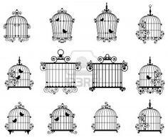 Silueta de un jaulas de aves decorativas Foto de archivo - 9805740