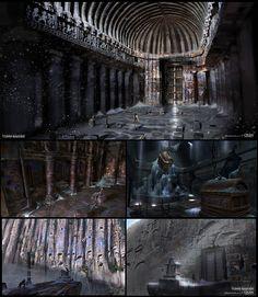 ArtStation - Voice of God - Vids Dev concept arts for Rise of the Tomb Raider… Fantasy Inspiration, Painting Inspiration, Fantasy World, Fantasy Art, Steampunk Clock, Rise Of The Tomb, Interior Concept, Oriental Design, Environment Concept Art
