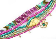 SS14 Swarovski Word Bracelets,Beadwork,Beadweaving,Flower Charm,Bohemian Indian Boho Chic Native Multiple rows Aztec Friendship Bracelet