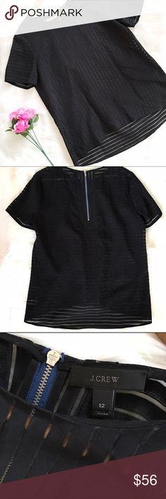 "•NWOT• J. Crew black high low blouse! NWOT, unworn. Size 12. Armpit to armpit 21"" Armpit down 17.5"" Shoulders down 27.5"" 80% Viscose 20% polyester. Dry clean. J. Crew Tops Blouses"