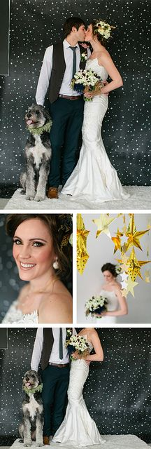 Star Wars Wedding Inspiration, DIY wedding, Star Wedding decor, real flowers in hair, gold makeup. Vendors: Fifth & Hazel, Your Beauty Call, Layers of Lovely, Mina Olive, Peridot Sweets, The Wooden Trunk, Caravan Shoppe, La Tavola Linen, RSVP Party Rentals, chewbacca dog