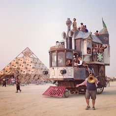 The Neverwas Haul art car with the temple in the background