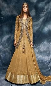 Brown Color Shaded Embroidered Net Gown #indiangowns #indianfashion20167 Flaunt your simplistic elegance draping this brown color shaded embroidered net gown. The pretty floral patch, lace, resham and sequins work in the course of the attire is awe-inspiring.  USD $ 147 (Around £ 101 & Euro 112)