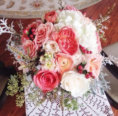 Coral, peaches & Ivory Bridal Bouquet
