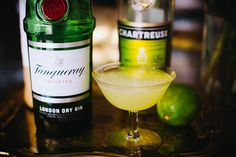 """The Last Word"".   ¾ oz Gin (I used Tanqueray) ¾ oz Green Chartreuse (or yellow Chartreuse) ¾ oz Maraschino (Luxardo) ¾ oz fresh lime juice"