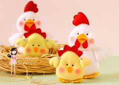 Cute felt chickens (not in English)