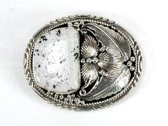 Native American Navajo belt buckle stamped Sterling Silver and turquoise