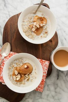 Cracked Freekeh Porridge with Maple Roasted Pears and Cardamom | TheCornerKitchenBlog.com #breakfast #freekeh #pears
