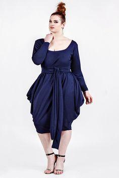 JIBRI Plus Size Solid Scoop Dress w Hip Detail
