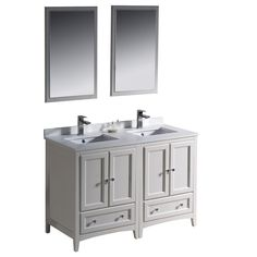Gallery Website  inch White Finish Solid Wood Double Sink Bathroom Vanity with Soft Closing Drawers and Mirror Overstock Shopping The Best Deals on Bath u