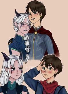 i finished binge-ing this show yesterday and now im drawing fanart… such is ones fate upon discovering the dragon prince Rayllum :) as small beans and a few years down the road, maybe yrs old? Dragon Prince Season 3, Prince Dragon, Dragon Princess, Rayla X Callum, Sonic Fan Characters, Christmas Puppy, Disney And More, Anime Comics, Elves