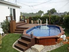 Above Ground Pool Deck Plans . the 20 Best Ideas for Above Ground Pool Deck Plans . 40 Uniquely Awesome Ground Pools with Decks Above Ground Pool Landscaping, Backyard Pool Landscaping, Small Backyard Pools, Small Pools, Outdoor Pool, Backyard Designs, Landscaping Ideas, Backyard Ideas, Pavers Ideas