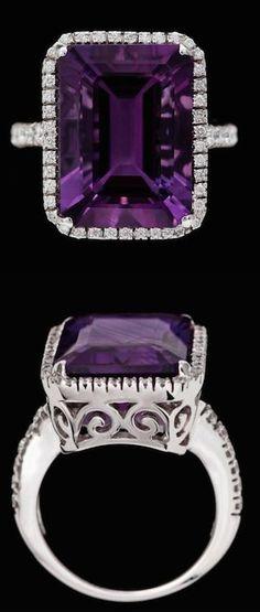 Amethyst and brilliant cut diamonds. 18k white gold....