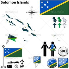 Map of Solomon Islands  #GraphicRiver         Vector of Solomon Islands set with detailed country shape with region borders, flags and icons. Package contains: EPS (10 version), JPG (5000×5000 pixels, RGB)                     Created: 10 December 13                    Graphics Files Included:   Vector EPS                   Layered:   No                   Minimum Adobe CS Version:   CS             Tags      Honiara #Solomon Islands #administrative #atlas #borders #boundary #button #country…