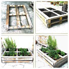 Recycled wooden pallet garden. Pequeña jardinera hecha con palets de madera reciclados.