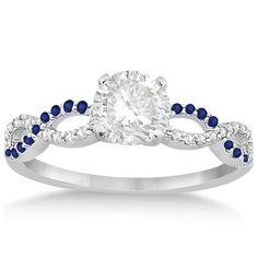 Infinity Diamond & Blue Sapphire Engagement Ring 14K White Gold 0.21ct-Allurez.com