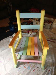 Multi-color pastels rocking chair
