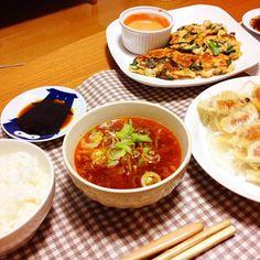 初めてパリパリ薄皮餃子に成功♡ チジミと韓国風カルビスープでアジアンテイストな晩ごはん(*>ω<*) - 9件のもぐもぐ - 中華・韓国風晩ごはん by miharururu