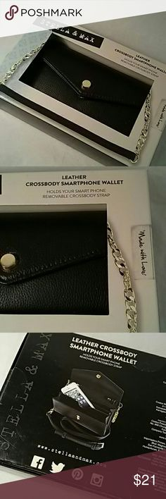 """Stella + Max Crossbody Smartphone Wallet Still sealed box and wrapped strap.  Beautiful black leather crossbody bag with leather and goldtone removable strap. Holds your Smartphone, money and other small items. Two snap closure to accommodate more or less """"stuff"""". Perfect for a night out. Stella and Max Bags Crossbody Bags"""