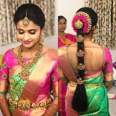 Image may contain: one or more people and people standing South Indian Wedding Hairstyles, Bridal Hairstyle Indian Wedding, Bridal Hair Buns, Indian Bridal Sarees, Bridal Hairdo, Bridal Silk Saree, Braided Hairstyles For Wedding, Indian Hairstyles, Wedding Hijab