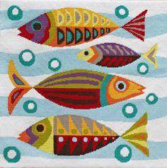 MidCentury Fish needlepoint by emilypeacocktapestry on Etsy, $103.00