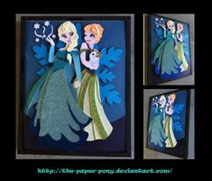 Anna and Elsa Shadowbox by The-Paper-Pony on deviantART #Frozen