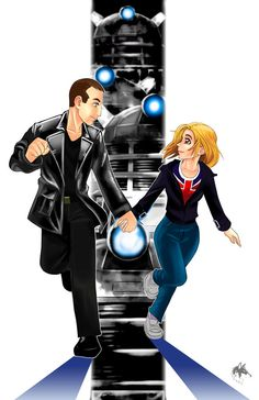 Ninth Doctor and Rose and just take a moment to love the Daleks in the Backround!
