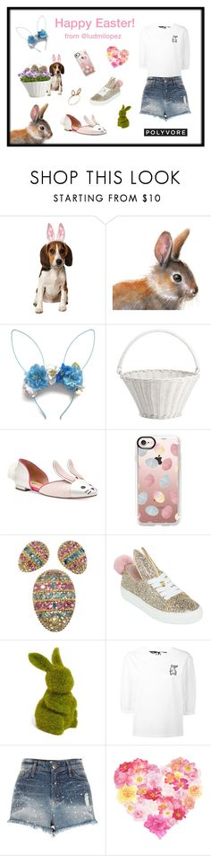 """""""Happy Easter! ❤️🐰❤️"""" by ludmilopez ❤ liked on Polyvore featuring Rubie's Costume Co., Pottery Barn, Casetify, Napier, Minna Parikka, Allstate Floral, Markus Lupfer, River Island and Jacquie Aiche"""