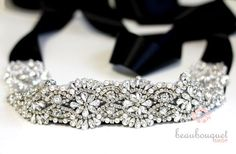 "SWAROVSKI Bridal Sash Rhinestone Bridal Beaded Rhinestone Sash Wedding Sash 17"". $189.00, via Etsy."