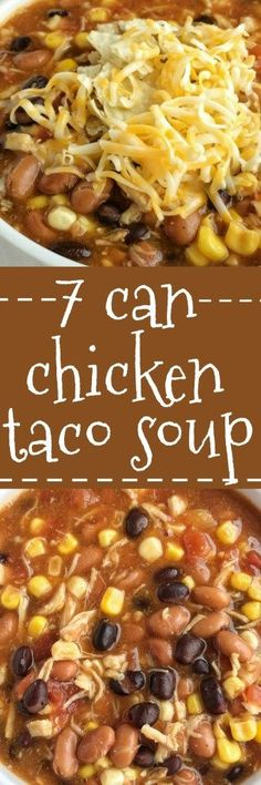 Dinner does not get any easier than this 7 can chicken taco soup! Dump 7 cans into a pot plus some seasonings and that's it! Serve with tortilla chips, cheese, and sour cream. You won't believe how yummy