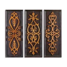 """Uttermost - 13570 Amora Plaques Framed Art, Antique Gold Leaf - These decorative plaques feature an antiqued gold leaf finish on the laser cut designs with burnished edges and a distressed black background with dark mahogany undertones.Dimension: 15"""" W x 40"""" HFinish: Antique Gold Leaf"""